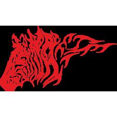 Hlava zebry v plamenech