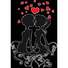 Zamilovaný pár se srdíčky