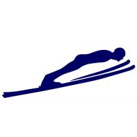 Silueta skokan na lyžích