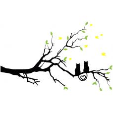 Zamilované kočky na větvi - barevní ptáčci