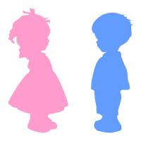 Označení dveří WC - Dívka - Chlapec - 2 barvy