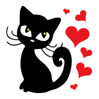 Kočka se srdíčky - volba barvy srdíček